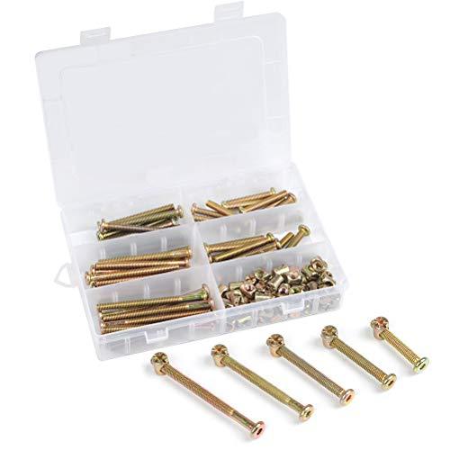 QLOUNI 100 Stück M6 Möbelschrauben, Möbel Flachkopfschraube, Schrauben Muttern, Zylinderschraubenmuttern, Bettverbinder-Schrauben Dübelmuttern für Möbel & Holz 40mm/50mm/60mm/70mm/80mm