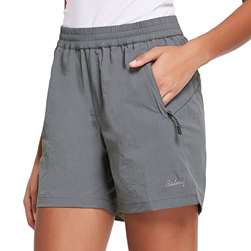 """BALEAF Women's 5"""" Athletic Shorts Quick Dry Lightweight for Hiking, Workout, Running with Zipper Pocket UPF 50+ Dark Grey Size M"""
