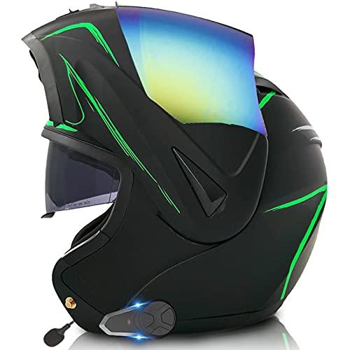 ZLYJ Casco Abatible Modular De Motocicleta Bluetooth con Sistema De Comunicación Integrado Mp3 Incorporado Certificación ECE Casco Integral De Doble Visera A,M(57-58mc)