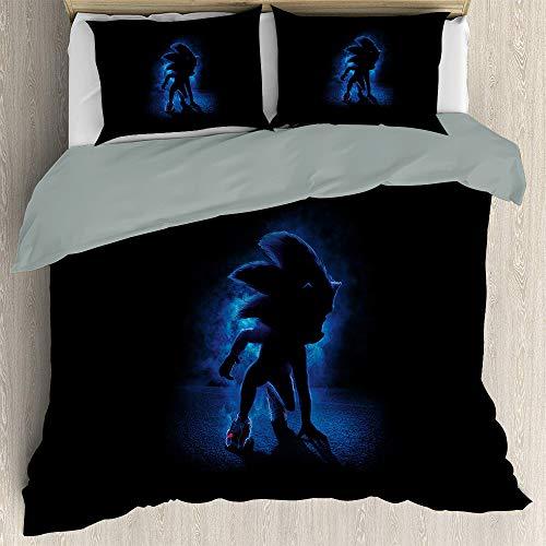Anime Bedding Sonic The Hedgehog Bedding 3-Piece Twin Bed Sheets Set, Sonic Soft Microfiber Duvet Cover Soft Comfy Breathable Fade (EU Super King 260cmx220cm)