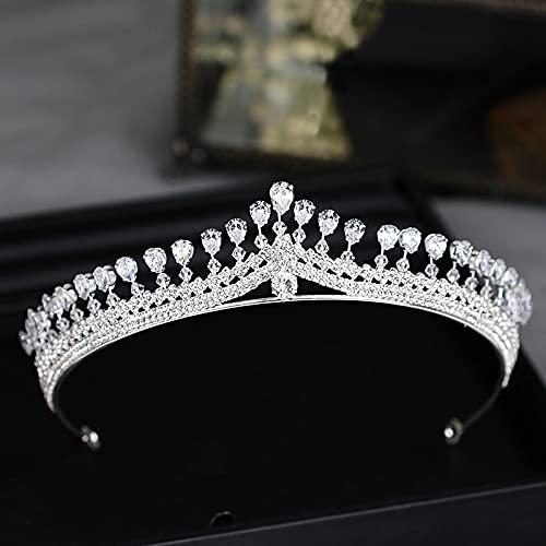 Clips de pelo Tiara De Boda Color Plateado Circón Princesa Corona Tocado...