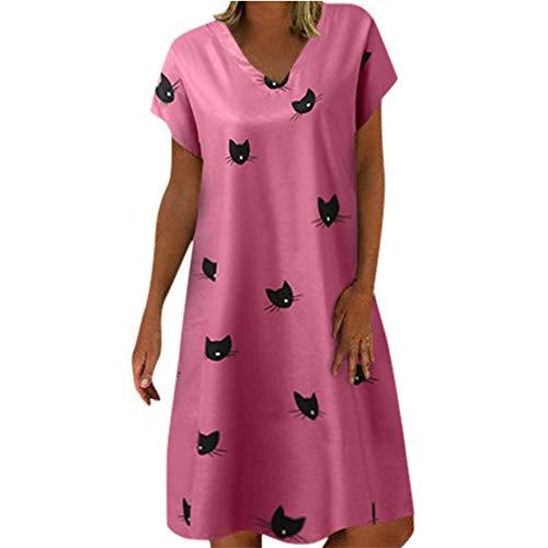 TWIFER Damen Katzendruck Sommerkleid Leinen Kleider Frauen V-Ausschnitt Strandkleider A-Linie Kleid Boho Knielang Kleid