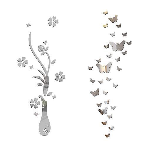 Pegatinas Pared Espejo Flores Florero y 30pcs Mariposas Vinilos Decorativas Adhesivos DIY Hogar Salón Dormitorio Baño Habitación Plateado