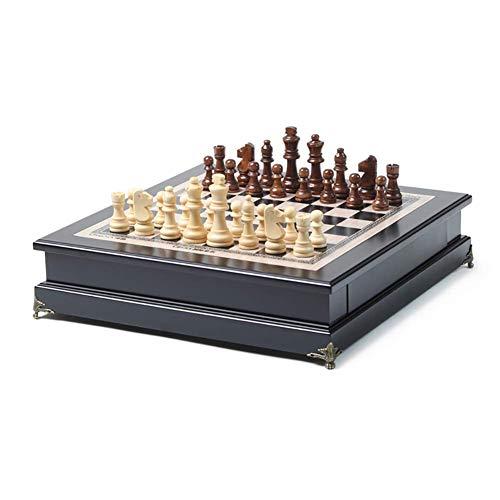 Staunton Chess Tablero de ajedrez de Madera con Piezas de ajedrez de Madera, Regalo para niños con estimula tu Cerebro, ejercita tu Mente, portátil, portátil, para Adultos, niños, Juegos, Trave