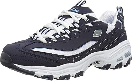 Skechers D'Lites-Biggest Fan, Zapatillas Mujer, Multicolor (NVW Black Trubuck/Mesh/Trim), 37 EU