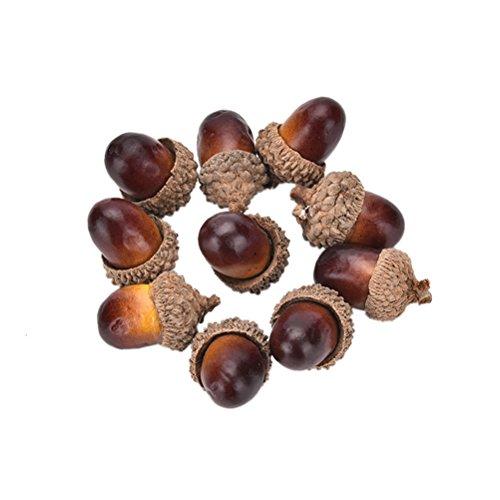 Haodeba 10 Pcs Christmas Decorative Fake Mini Acorn Oak Nut Artificial Fruits Ornaments Decor