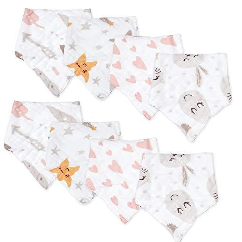 Viviland Baberos para bebé, paquete de 8, 8 capas de muselina absorbente de algodón para 0-24 meses, Unicornio y estrella