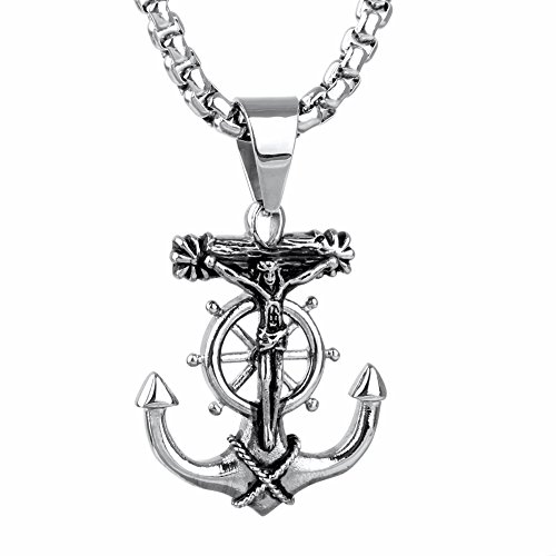 JAJAFOOK Men's Stainless Steel Silver Nautical Anchor Jesus Cross Necklace Chain Link