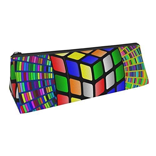 Cube Art Pencil Bag Pen Case, Compact Zipper Pencil Pouch Bag for Office School Student Boys Girls