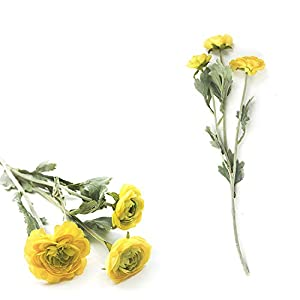Citinny Royal Family Artificial Ranunculus Asiaticus Silk Flowers 3 Heads Dew Lotus Decoration Fake Yellow Flower
