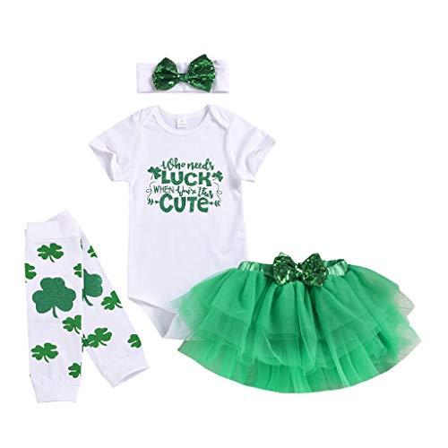 sunnymi - Conjunto de ropa para bebé niña, 0 – 18 meses, pelele tutú, falda calentadora de piernas verde 3-6 Meses