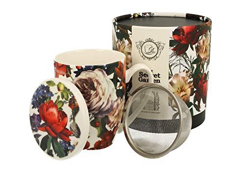 Duo Secret Garden - Juego de tazas de té (420 ml, con infusor y tapa, porcelana china, en caja de regalo, 3 piezas, con colador y filtro