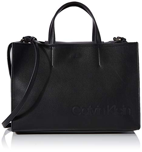 Calvin Klein Attached Tote - Borse a tracolla Donna, Nero (Black),...
