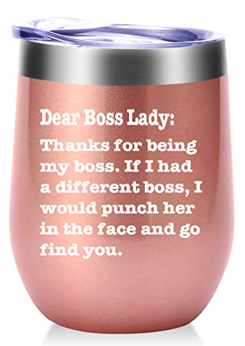 Thanks For Being My Boss Lady Mug.Boss Day Gifts Office Gifts.Moving Appreciation Retirement Birthday Christmas Gifts For Female Women Boss Lady Wine Tumbler(12oz Rose Gold)
