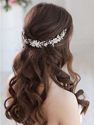 Simsly Diadema de novia con diseño de flores para boda y novia, accesorio para el pelo, para mujeres y niñas