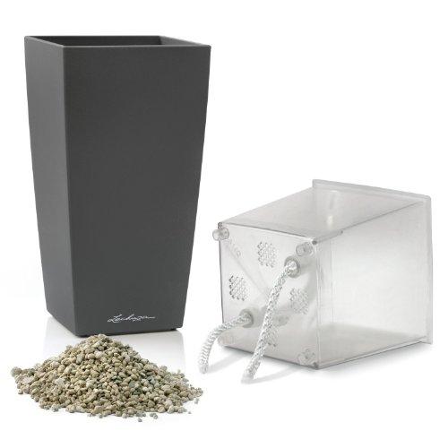 Lechuza Premium Mini Cubico 9cm Hochglanz anthrazit Selbstwässernder Zimmerpflanze & Kräuter Pflanztopf