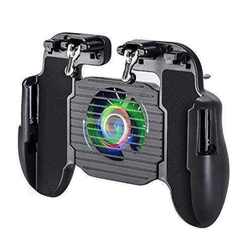Qoosea PUBG Mobiler Game Controller mit Lüfter für das Telefon und integriertem 500 mAh-Akku Sensitive Shoot-Ziel-Joysticks L1R1-Shooter für Knives Out/PUBG/Rules of Survival/Epic Games