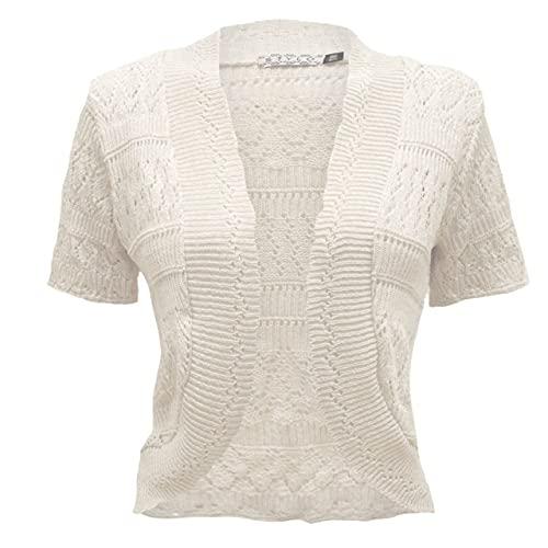 Generation Fashion New Ladies Women's Crochet Knitted Bolero Shrug Cardigan Cropped Dress Short Sleeves Top Jumper [White,ML]