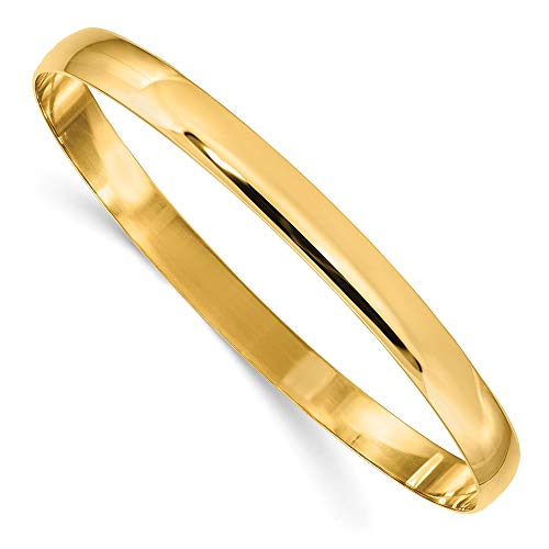 14k Yellow Gold 6mm Solid Half Round Slip On Bangle Bracelet Cuff Expandable Stackable Fine Jewellery For Women Gifts For Her