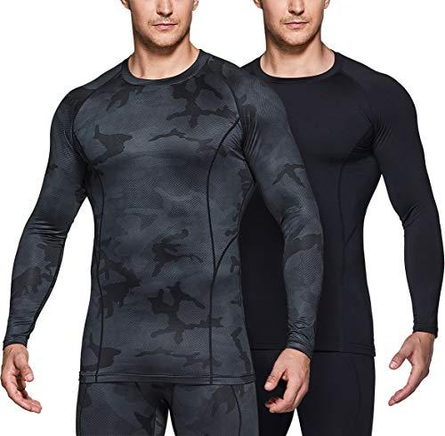 TSLA Men's Thermal Wintergear Compression Baselayer Long Sleeve Top, Thermal Athletic(yud34) - Black, Medium