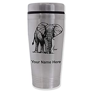 Commuter Travel Mug, African Elephant, Personalized Engraving Included