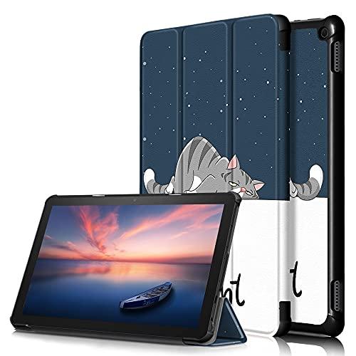 JINXIUCASE Ultra Slim PU Cuero Smart Auto Sleep/Wake Trifold Stand Cover for Kindle Fire HD 10 2021 / HD 10 más 2021 (Color : A2)