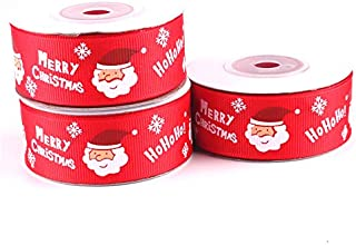 YWSHF 5M 25mm Green Red Christmas Tree Snow Santa Claus Printed Grosgrain Ribbons Letter Printed Ribbon Ruban