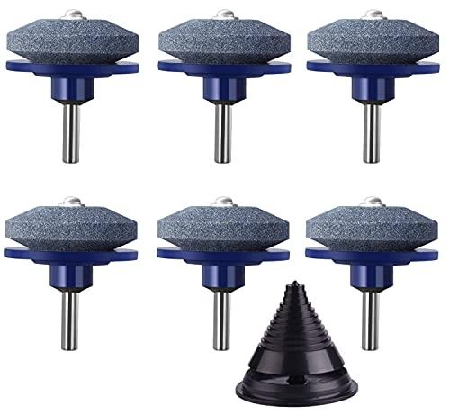 KAHEIGN 6Pcs Rasenmäher Messerschärfer für Bohrmaschinen, 5CM Universal Multi-Sharp Schleifscheibe Stein Rasenmäher Schleifgerät mit Messerbalancer für die meisten Bohrmaschinen (Blau)