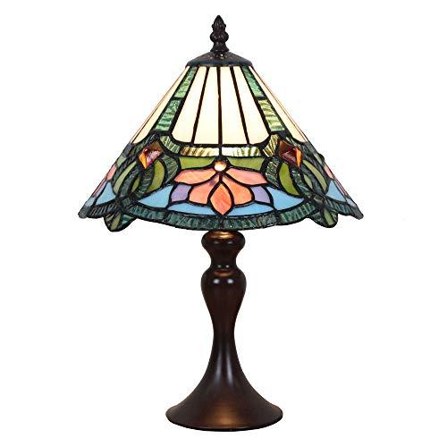 Tokira Vintage Tiffany Tischlampen Weiß Blau 10 Zoll, Tiffany Tischlampe Antik Original, Glasmalerei Lampen Schlafzimmer Nacht Lampenschirme Wohnzimmer