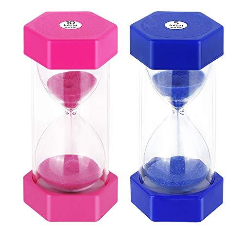 JUNDUN Sanduhren 2 Farben Sanduhr Set 10/5 Minuten Dekoration Zeitmesser Timer für Kinder Klassenzimmer Küche Spiele Bürsten Zuhause Büro (2 Stück)