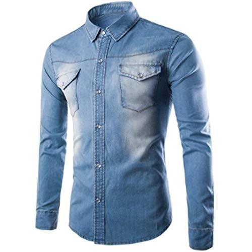 Herren jeanshemd Jeanshemd Herren mit knöpfen Langarm Denim Herrenhemd Regular Fit Langarm Jeanshemden Vintage Freizeit Mode Shirts 2020 Neue Tops Männershirts XL