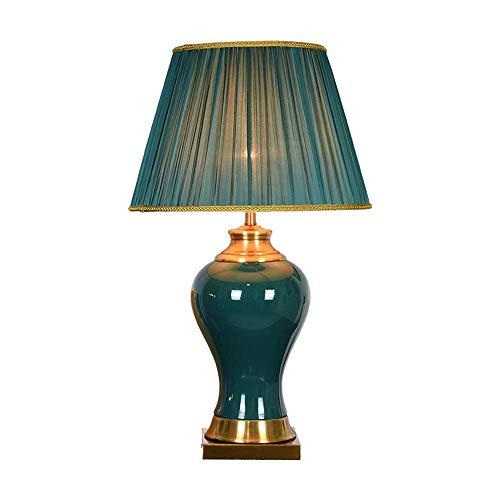 LYYJIAJU Amerikaanse landelijke stijl tafellamp, blauw keramiek, blauwe schaduw, koperbasis, voor woonkamer slaapkamer nachtkastje kantoor familie