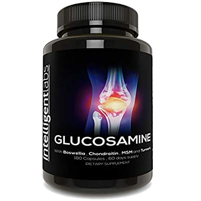 ?#1 Best Glucosamine On Amazon ? Triple Strength Glucosamine Sulphate Complex 1500mg ? With Boswellia, Chondroitin, MSM and Tumeric ? by Intelligent Labs