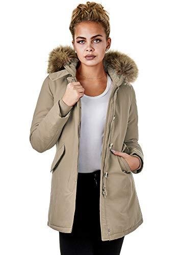 Burocs EFW28 Damenjacke Kunstfell Parka Mantel Winterjacke Kapuze Warm Gefüttert Waschbar Schwarz Navy Khaki, Größe:S, Farbe:Beige