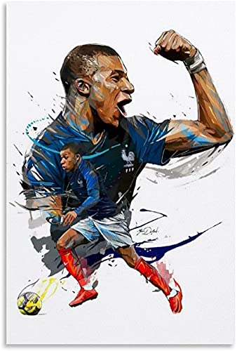 "ZRRTTG Mural con Estampado De Arte Kylian Mbappé Football Famous Star Cartoon para decoración Familiar PóSter Lienzo Pintura Pared 15.7""x23.6""(40x60cm) Sin Marco"