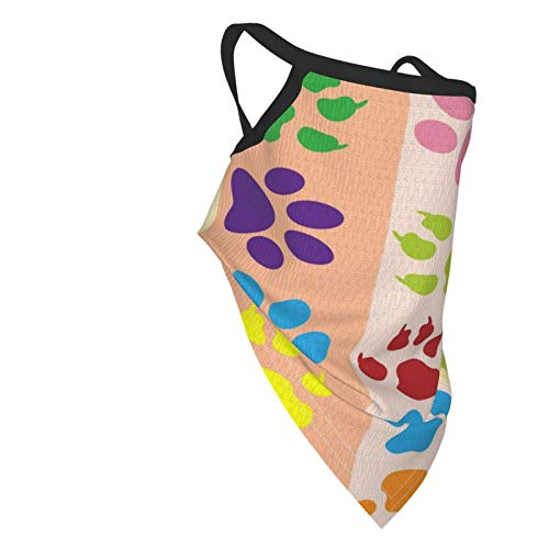 Kids Neck Gaiter (6-14 Years), Colorful Paw Print Face Bandana Mask with Ear Loops for Boy Girl