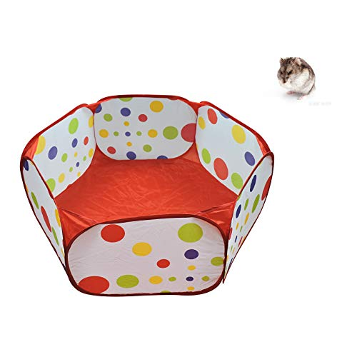 WishLotus Small Animal Playpen, Portable Outdoor Pet Exercise Fence Pop-Up Metal Wire Yard Fences, Foldable Pet Tent Play Pen for Guinea Pig, Hamster, Chinchillas and Hedgehogs, Rabbits (Red)