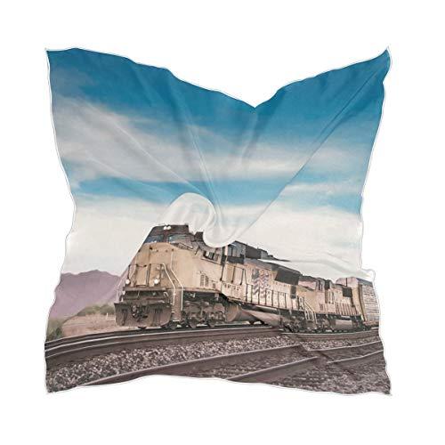Sheer Blue Sky Classic Old Steam Train Girl Thin Chiffon Headpiece Foulard en soie Mouchoir