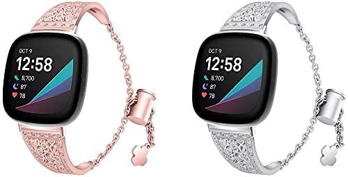 Gransho in Acciaio Inox Cinturino per Orologio compatibile con Fitbit Versa 3 / Fitbit Sense, a Sgancio Rapido del Cinturino i Link Rimovibile per Orologi (Pattern 2+Pattern 3)