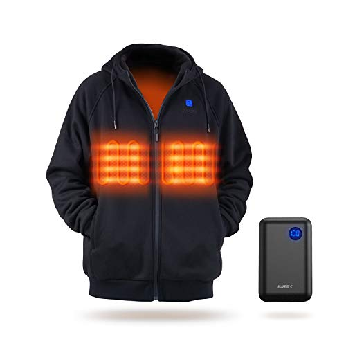 IUREK Heated Hoodie, Unisex Heated Hoodie with 7.4V 10000mAh Battery Pack ZD940 Large Black