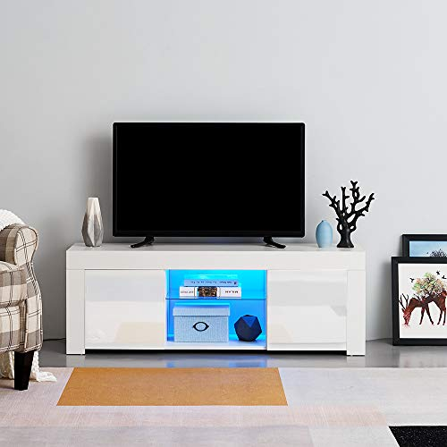 PananaHome Modern 120cm TV Stand Unit with Multi-colour LED Lights High Gloss Doors Media Television Cabinet Stand for Living Room White