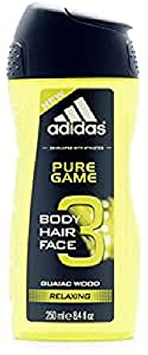 Adidas - Gel Douche Prafumant 3 en 1 pour Homme Pure Game - Relaxant - Shampoing - Multi-bénéfices - 250ml