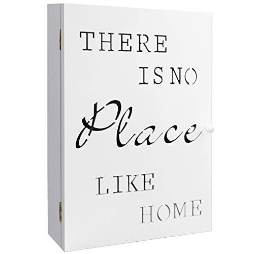 Wohaga Schlüsselkasten 'No Place Like Home' mit 6 Schlüsselhaken, Holzkasten in Weiß, 22x7x32cm, Schlüsselbox Schlüsselschrank