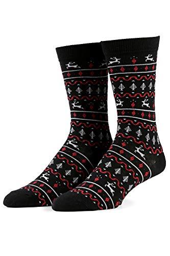 Men's Red and Black Fair Isle Sock