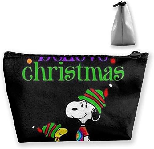 Bolsa de maquillaje Bolsa de cosméticos Christmas Joy Snoopy Bolsa de almacenamiento trapezoidal multifuncional Kit de viaje Organizador