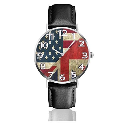 Reloj de Pulsera Bandera Americana británica Durable PU Correa de Cuero Relojes de Negocios de Cuarzo Reloj de Pulsera Informal Unisex
