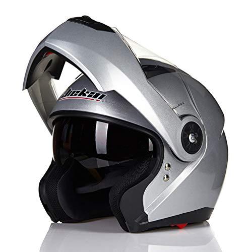Casque de moto plein air quatre saisons casque unisexe double lentille (Couleur : Silver-L XL)
