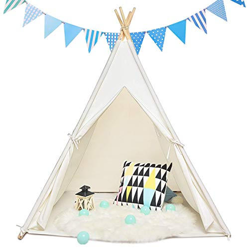 Sumbababy Teepee Tent for Kids with Carry Case, Natural Cotton Canvas Teepee Play Tent, Toys for...