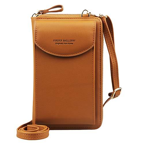Jangostor kleine Crossbody Tasche Handy - Tasche Brieftasche mit Credit Card Slots für Frauen (Brown)