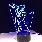 KangYD Luz nocturna 3D Ballet Dancing Women, lámpara de ilusión óptica LED, F - Base de audio Bluetooth (5 colores), Regalo de Navidad, Regalo para amigo, USB alimentado